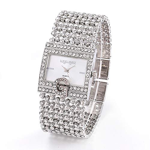 Fashion Watch Women Round Full Diamond Bracelet Watch Analog Quartz Movement Wrist Watch Outsta for Girls Women Gift Present (Silver) ()