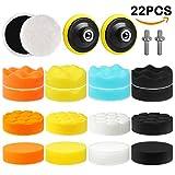Electop Car Polishing Pad Kit 22 Pcs, 3 Inch Foam Drill Buffing Sponge Woolen Pads for Car Sanding, Buffing, Polishing, Waxing, Sealing Glaze(18 Pads+2 Drill Adapters+2 Suction Cups)