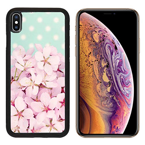(Liili Premium Apple iPhone Xs Aluminum Backplate Bumper Snap Case Pink Cherry Blossom Flower Bouquet on Light Blue Vintage Polkadot Background Photo 19979131)