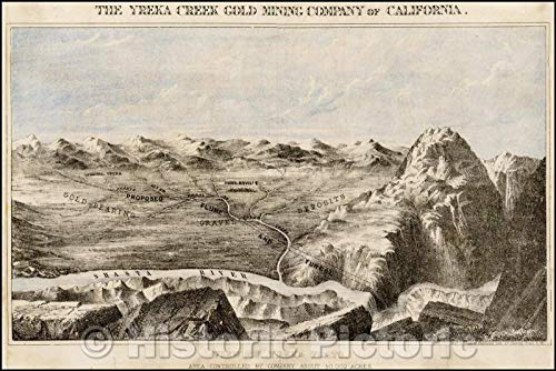 Historic Map | The Yreka Creek Gold Mining Company of California. View of Yreka Flats. Area Controlled, 1872, J. Cook & Hammond Lith. | Vintage Wall Art 36in x 24in (Best Gold Mining Companies)