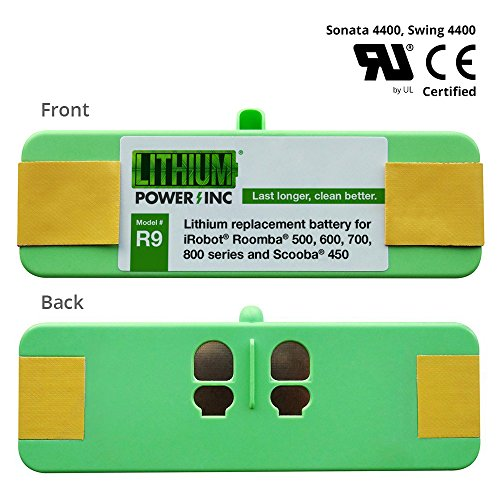 Lithium Roomba Replacement Battery For iRobot Roomba 500, 600, 700, 800 Series and Scooba 450, 4400mAh - UL&CE Certified Battery Component