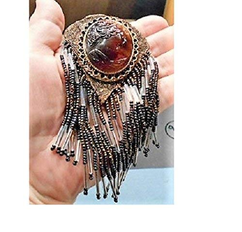 (Black Cameo TASSELS Dangles, Black, Bronze, Light Brown, Tortoise Shell Celluloid w/Beaded Tassels 5 Inch Brooch. Pendant Converter Avail)