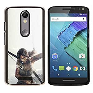 EJOOY---Cubierta de la caja de protección para la piel dura ** Motorola Moto X3 3rd Generation ** --T0Mb Raider Lara Cr0Ft