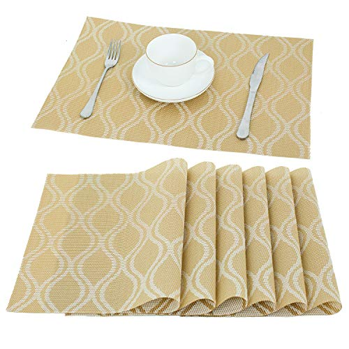 - HEBE Placemats Set of 6 Holiday Placemats for Kitchen Table Crossweave Woven Vinyl Non-Slip Insulation Placemat Table Mats Wipe Clean(Gold)