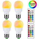 iLC RGB LED Light Bulb, Color Changing Light Bulb 2700K Warm White 3W E26 Screw Base RGBW, Mood Light Flood Light Bulb - Dual Memory - 12 Color Choices - Timing Infrared Remote Control(4 Pack)