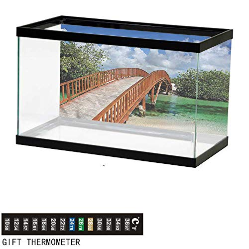 bybyhome Fish Tank Backdrop Landscape,Wooden Bridge Arc Design,Aquarium Background,36