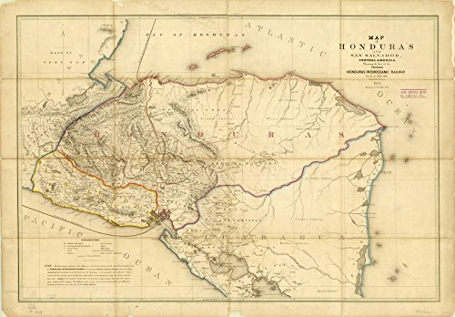 (Historic Map | Honduras 1854 | Map of Honduras and San Salvador, Central America : Showing The line of The Proposed Honduras Interoceanic Railway | Antique Vintage Reproduction 36in x 24in)