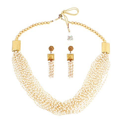 Fasherati Antique Gold And Fresh Water Pearl Necklace Set For Women