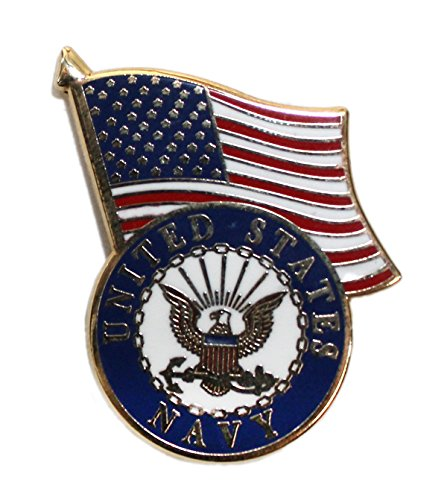 Ted and Jack - Wear It Proudly Ceramic and Metal Military Lapel Pin (Navy Flag)