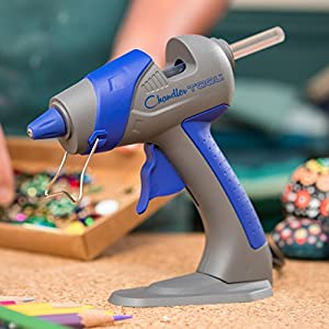 Chandler Tool Mini Glue Gun - 25 Watt - Hot Glue Sticks & Patented Base Stand Included - for Arts Crafts School Home Repair DIY (Blue)