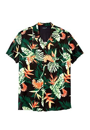 KS Island Men's Big & Tall Tropical Caribbean Camp Shirt, Black Tropical Big-8XL