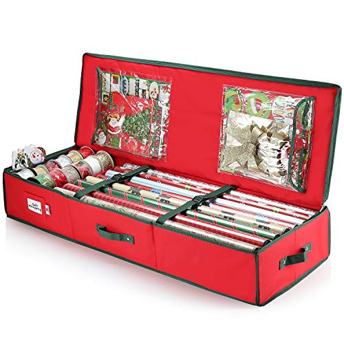 StorageMaid Christmas Storage Organizer - Wrapping Paper Storage and Under-Bed Storage Container for Holiday Storage of Gift Bags, Wrapping Paper, Ribbon, and Bows