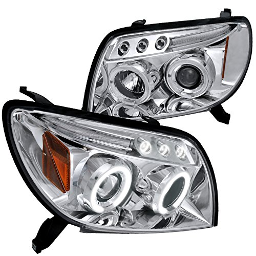Spec-D Tuning 2LHP-4RUN03-TM Toyota 4Runner Chrome Clear Halo Led Projector Headlights