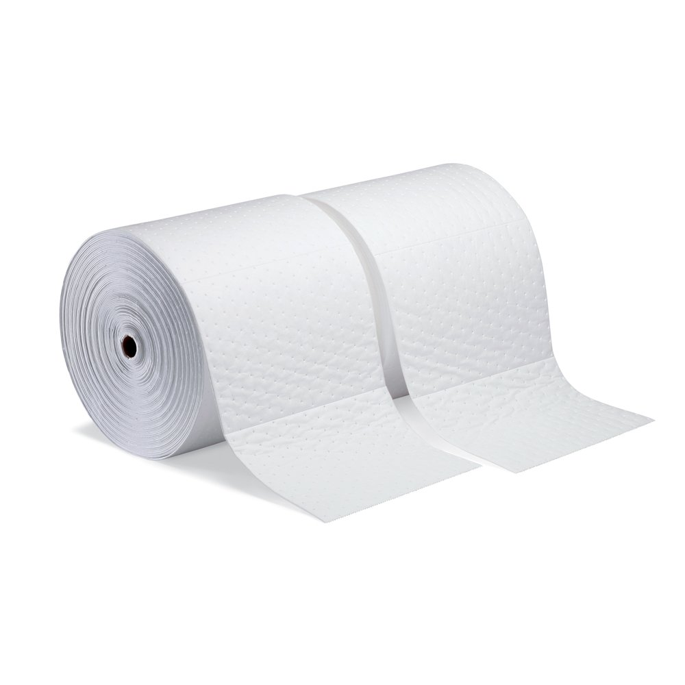 New Pig Oil-Only Absorbent Mat Roll, 20-Gal Absorbency Per Roll, Heavyweight, Absorbs Oil-Based Liquids, Repels Water, 150' L x 15'' W, White (2 Rolls), MAT425