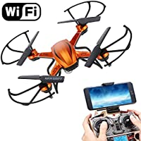 Boys Toys FPV RC Drones Quadcopter for Kids with WIFI Camera Remote Control Airplane Helicopter Flying Toys 2.4GHz 6Gyro 3D Flips Headless Drone Indoor/Outdoor for Boys Girls Beginner Gifts(Orange)