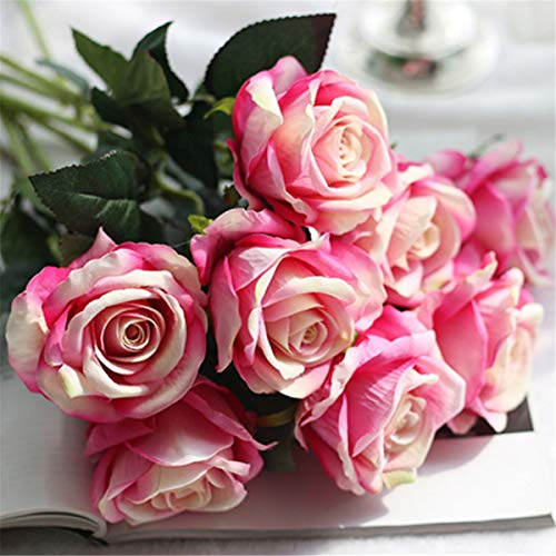Pink Red Flowers Wedding (Louiesya Artificial Flowers 6pcs of Fake Rose Flower Bouquet Floral Plants Decor for Home Garden Wedding Party Decor Decoration(Rose Red))