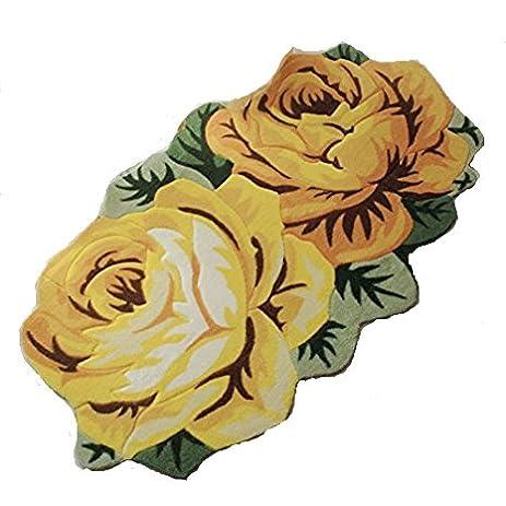 Ustide 2 Rose Shaped Rug Yellow Floral Area Rug Rustic Flower Carpet  Kitchen/Bedroom/