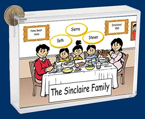 Personalized NTT Cartoon Side Slide Frame Gift: Family Dinner 2 Boys, 1 Girl Gift, Family Gift