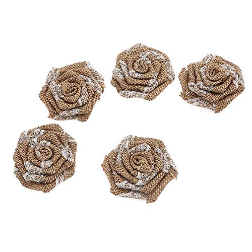 PatyHoll 10Pcs /Lot 3 ' New Burlap Rosette Flowers with Lace Wedding Fabric Flax for Baby Headband Kidocheese
