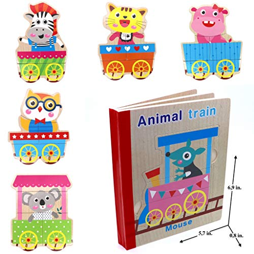 Wooden Books Puzzle - Animals (Train) | Wooden Books - 6 Collapsible Pages of Various Shapes and Colors |Developing of Fine Motor Skills, Memory Toys for Kids|Learning Shape, Color and Sorting ()