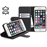 StilGut® Talis with Stand, Leather Wallet Case for Apple iPhone 6 Plus (5.5''), Black Nappa