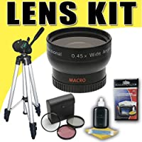 DavisMAX 0.45X Wide Angle Lens with 3 Piece Filter Kit and Tripod Bundle for Canon 58mm Camcorders