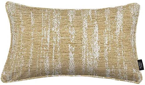 McAlister Textiles Textured Chenille Filled Pillow Cream Beige Funky Pattern Design Decorative Decor Throw Couch Cushion for Bedroom Sofa Living Room Sham Accessory – 16 x 24 Inches