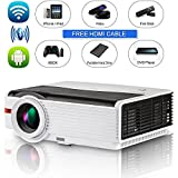 """High Definition LCD Video Projector Bluetooth Wireless 4200 lumens 5.8"""" TFT HD 1080P Android Outdoor Movies Projectors LED Lamp 50,000hrs- HDMI USB Aux Audio VGA Compatible with TV Stick Laptop DVD"""