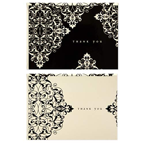 Hallmark 50 Assorted Thank You Cards, Black and White Ivory Scroll (Boxed Set of Cards with Envelopes for Weddings, Showers, Business, All Occasion)