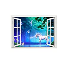Winhappyhome Unicorn Fake Window Wall Art Stickers for Bedroom Living Room Coffee Shop Background Removable Decor Decals