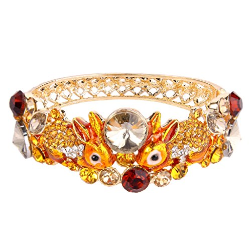 EVER FAITH Women's Austrian Crystal Enamel Adorable 2 Rabbit Bangle Bracelet Yellow Gold-Tone (Yellow Enamel Bangle)