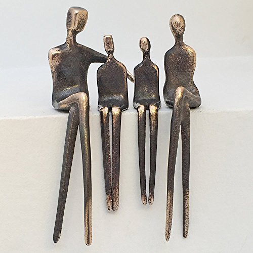 """Cuddle Up All"" Family of 4 - Yenny Cocq Design Loving People Bronze Collectible Figurines"