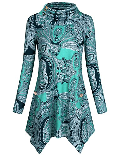 Hibelle Tunic Shirts for Women, Ladies Long Sleeve Cowl Neck Button Embellished Sweatshirts Paisley Floral Print Pattern Side Pockets Flared Hem Fall Boutique Trendy Tops Green Flower -