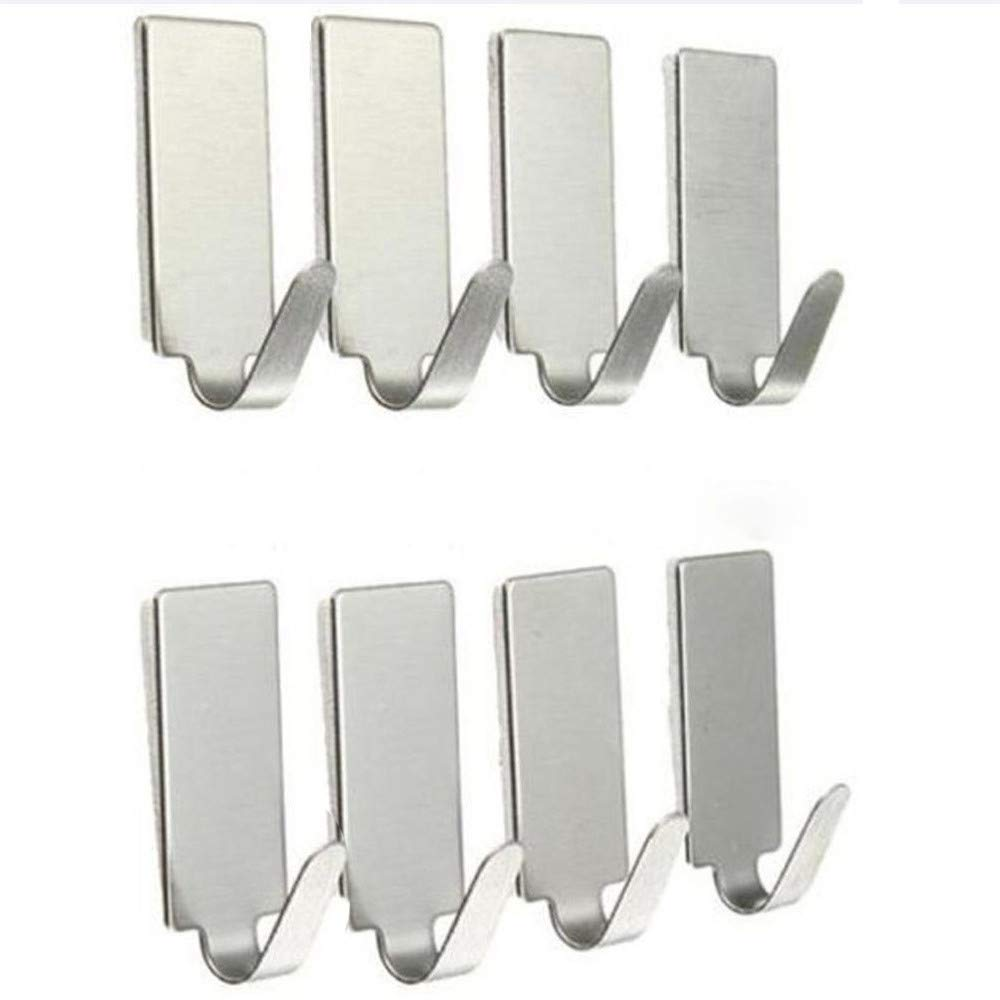 TWGONE Wall Hooks Adhesive Heavy Duty Command 8PCS Home Kitchen Door Stainless Steel Holder Hanger(3.5cmX1.5cm,Silver)