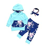 Baby Girls Long Sleeve Flowers Hoodie Top and Pants Outfit with Kangaroo Pocket (0-3 Months)