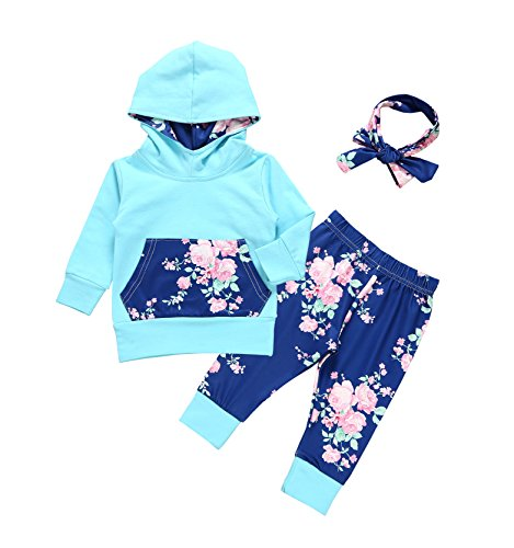 Baby Girls Long Sleeve Flowers Hoodie Top and Pants Outfit with Kangaroo Pocket (0-3 Months) (Kangaroo Outfit)