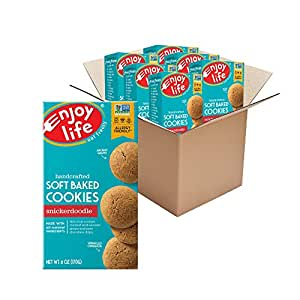 Enjoy Life Snickerdoodle Soft Baked Cookies, Soy Free, Dairy Free, Non GMO, Gluten Free, Vegan, Nut Free Cookies, 6 Boxes