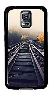 Samsung Galaxy S5 Train Tracks In Fog759 PC Custom Samsung Galaxy S5 Case Cover Black