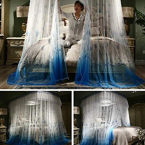 大型蚊帳,の-形 引き込み式ベッドキャノピー レールの種類 ベッドの装飾のためのステンレス鋼サポートが付いている暗号化糸のベッドのカーテン-c