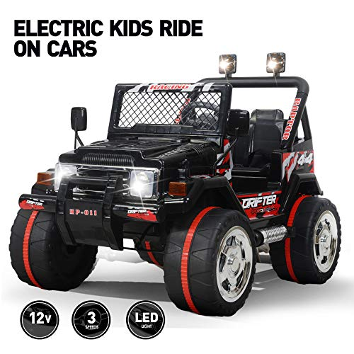 Fitnessclub 12V Kids Ride On Cars with Remote Control,Children's Electric Cars Motorized Cars for Kids LED Lights 3 Speeds Electric Toy for Kids USB Black (Electric Car Toys)