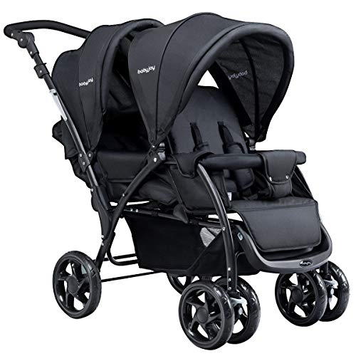 Foldable Lightweight Front Back Seats Double Baby Compact Stroller Infants Toddlers and Kids for 2 (Black)
