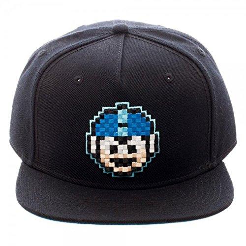 [Capcom Mega Man Pixel Face 8-Bit Snapback Hat, Black] (Megaman Hat)
