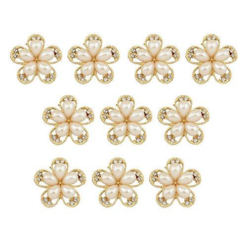 SPHTOEO 10pcs Water Drop-Pearl-Plum Blossom Flower-Shape Rhinestone Buttons DIY Craft Embellishment ( Golden)