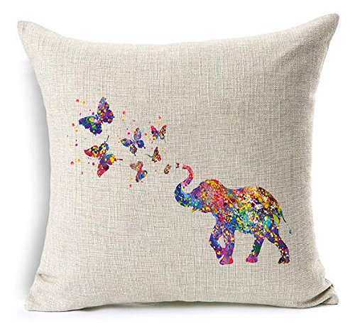 Andreannie Nordic Simple Ink Painting Watercolor Lovely Animal Colorful Elephant Spray Butterfly Cotton Linen Throw Pillow Case Cushion Cover NEW Home Office Indoor Decorative Square 18 X 18 Inches