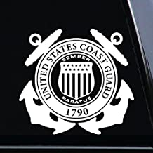 "Coast Guard Decal (Design #1) Vinyl Die-Cut Decal Sticker for Car, Truck, Notebook, Laptop, Computer or Window (6""x5.5"", white)"