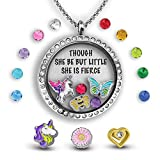 Though She Be But Little She Is Fierce Gifts For Teens Floating Locket Necklace Girl Power Gifts For Teenage Girls | Inspirational Gifts For Women Necklace Locket Charm Unicorn Gifts Christmas Gifts
