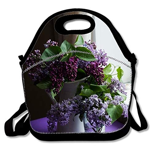 Lilac Floral Vase Neoprene Lunch Bag Insulated Lunch Box Tote for Women Men Adult Kids Teens Boys Teenage Girls Toddlers£¬shopping bag (Black)