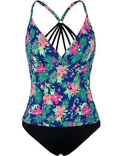 Firpearl Women's One Piece Swimsuit Strappy Back Tummy Control Swimwear Modest Bathing Suit US 14 Green Leaf