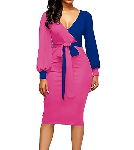 372524280c Vestidos Mujer Elegante Primavera Otoño Manga Larga V Cuello Slim Fit  Encima Rodilla Vestido Bicolor Cinturón Moda Casual Mujeres Coctel Dress:  Amazon.es: ...