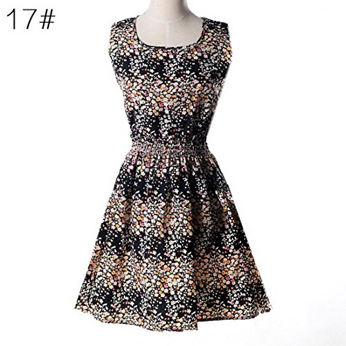 Vintage Swing Sleeveless Mini Black Women Floral Dress Party Bonboho Hepburn Dresses x5wTagqYR